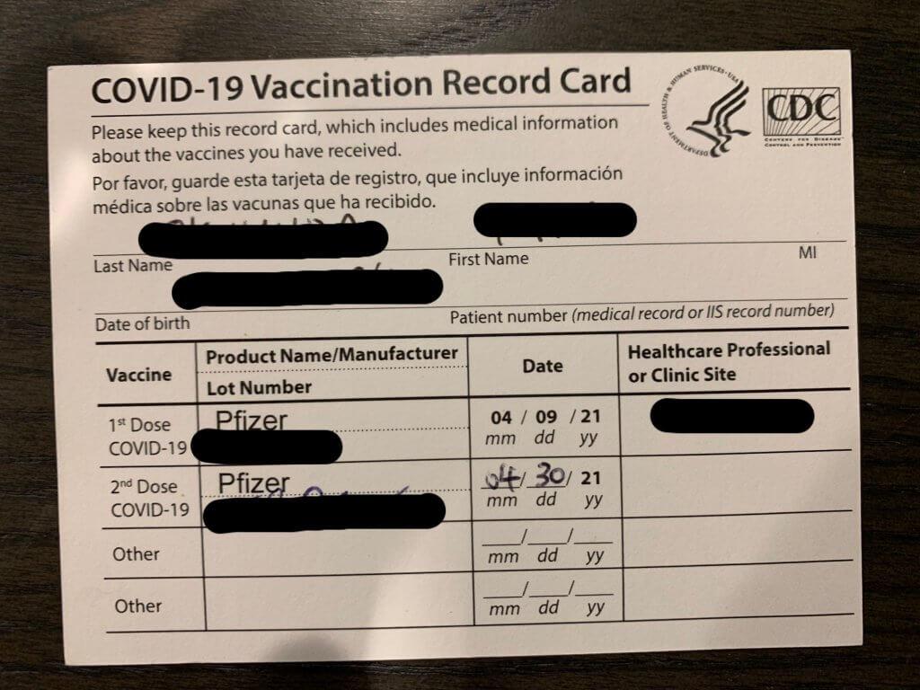 ワクチン接種後にもらえるスリップ